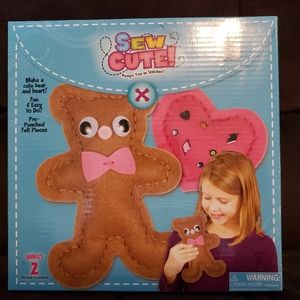 Sew cute bear and heart craft